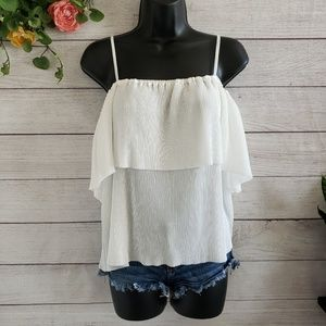 Flying Tomato | White Pleated Cold Shoulder Top